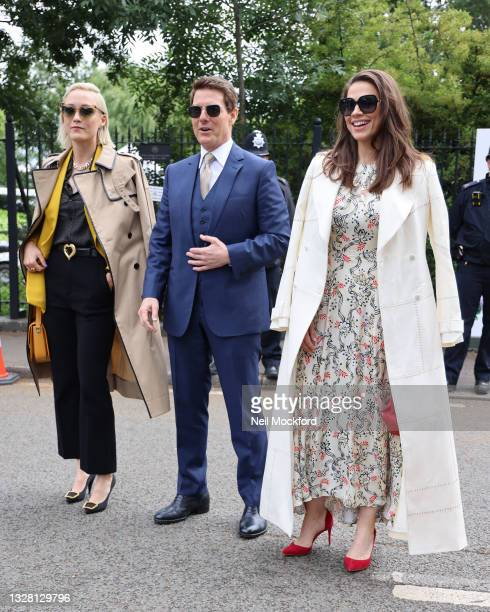 Pom Klementieff, Tom Cruise, and Hayley Atwell attend Wimbledon Championships Tennis Tournament Ladies Final Day at All England Lawn Tennis and...