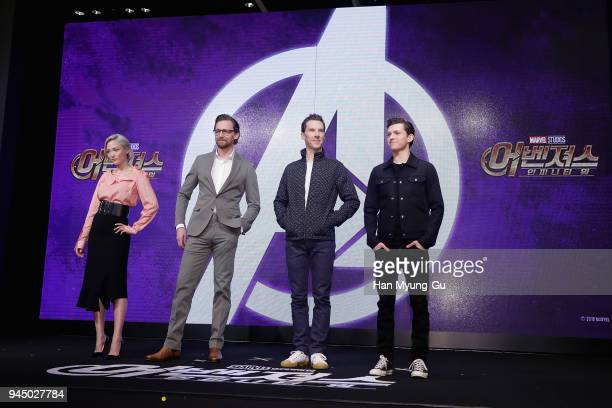 Pom Klementieff Tom Hiddleston Benedict Cumberbatch and Tom Holland attend the press conference for 'Avengers Infinity War' Seoul premiere on April...