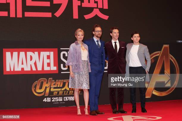 Pom Klementieff Tom Hiddleston Benedict Cumberbatch and Tom Holland attend the Seoul premiere of 'Avengers Infinity War' on April 12 2018 in Seoul...