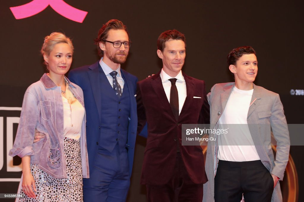 Pom Klementieff, Tom Hiddleston, Benedict Cumberbatch and Tom Holland attend the Seoul premiere of 'Avengers Infinity War' on April 12, 2018 in Seoul, South Korea.