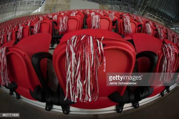 Pom poms decorate the seats prior to the College Football Playoff National Championship held at MercedesBenz Stadium on January 8 2018 in Atlanta...
