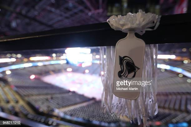 Pom poms sit in the stands prior to the Colorado Avalanche against the Nashville Predators in Game Three of the Western Conference First Round during...