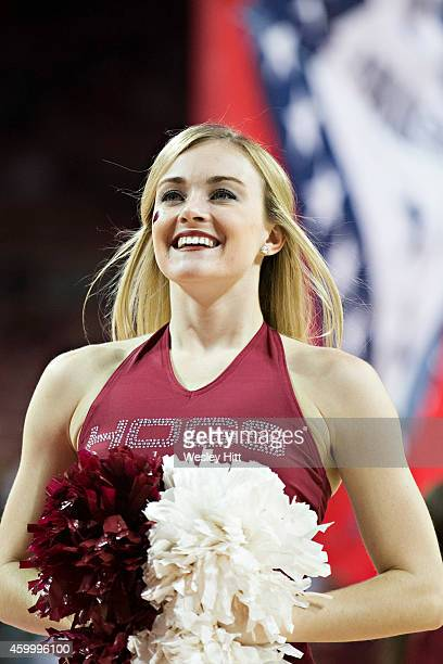 Pom Squad member of the Arkansas Razorbacks performs during a game against the North Texas Mean Green at Bud Walton Arena on November 28, 2014 in...