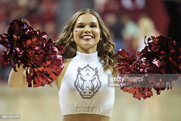 Pom Squad member of the Arkansas Razorbacks performs during a game against the Missouri Tigers at Bud Walton Arena on January 14 2017 in Fayetteville...