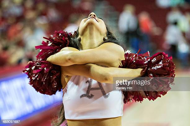 Pom Squad of the Arkansas Razorbacks performs during a game against the SMU Mustangs at Bud Walton Arena on November 18 2013 in Fayetteville Arkansas...