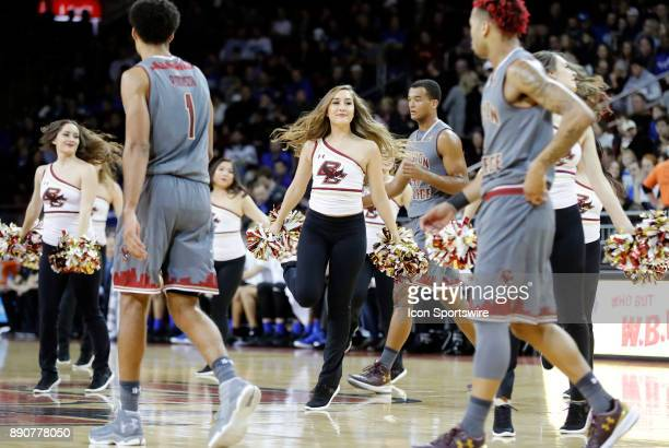 BC pom squad performs as the players return after a time out during a game between the Boston College Eagles and the Duke University Blue Devils on...