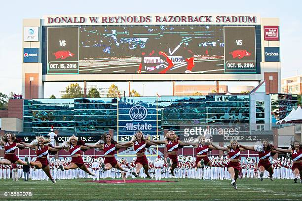 Pom Squad performs before a game between the Arkansas Razorbacks and the Mississippi Rebels at Razorback Stadium on October 15, 2016 in Fayetteville,...