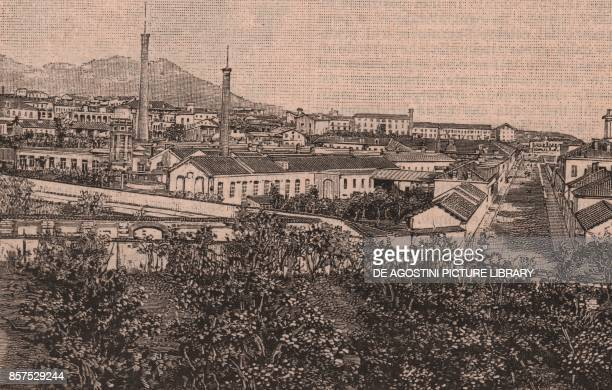 Poma cotton mill, Biella, Piedmont, Italy, woodcut from Le cento citta d'Italia , illustrated monthly supplement of Il Secolo, Milan, 1890.