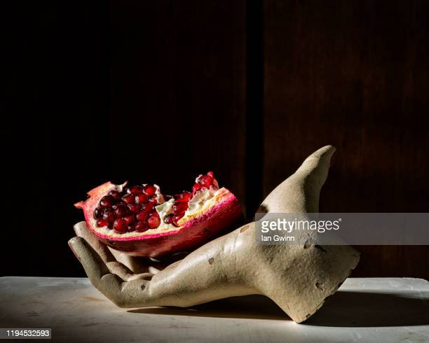 pomegranate in mannequin hand - ian gwinn stock pictures, royalty-free photos & images