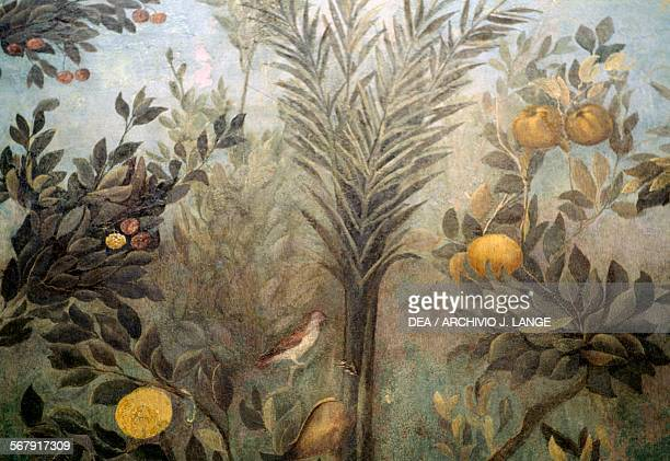 Pomegranate tree detail from a fresco depicting a garden with fruit trees and birds from the House of Livia on Palatine hill Rome Italy Roman...