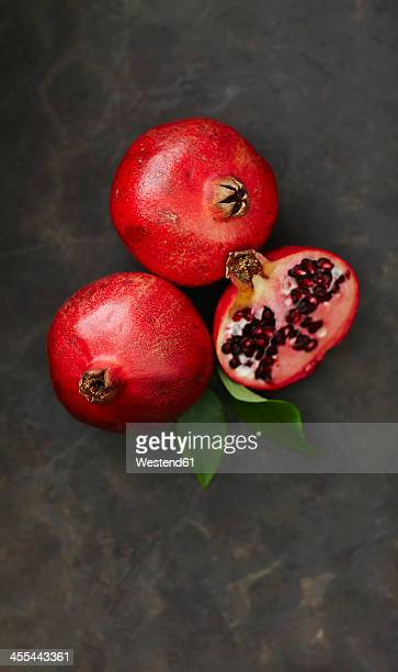 Pomegranates with leaf, close up