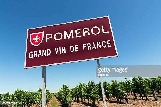 Pomerol, France, road sign