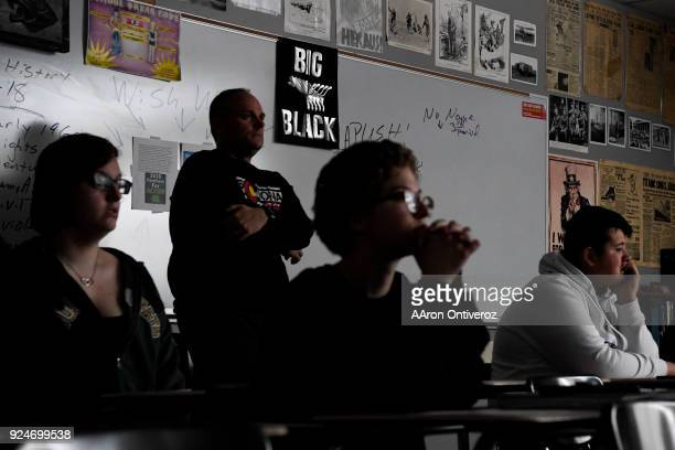 Pomona High School social studies teacher Dale Munholland teaches students in his American history class in which students learned about the freedom...