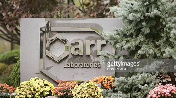 Pomona, UNITED STATES: A photograph of the Barr Pharmaceuticals logo is shown at the corporate headquarters 11 October, 2006 in Pomona, New York. The...