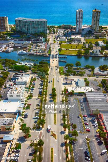 pompano beach business district and coast from above - fort lauderdale stock pictures, royalty-free photos & images
