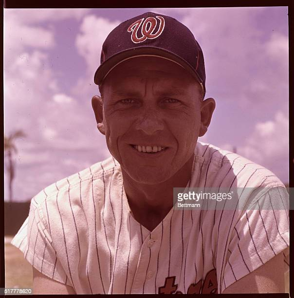 Gil Hodges of the Washington Senators is shown smiling in this closeup during spring training