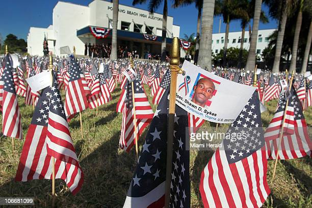 Pompano Beach High School JROTC salutes the fallen heroes of the Iraq and Afghanistan wars with 5733 American Flags Wednesday November 10 2010 Each...
