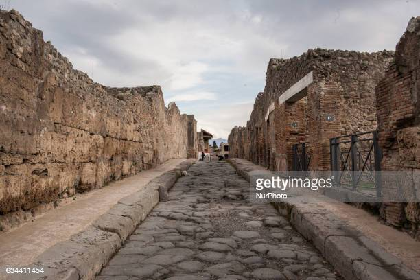 Pompei Archeological site February 09/2017 The street of the archeological site