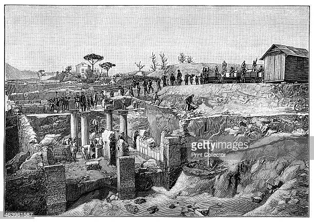 Pompeii Italy 1900 Archaeological dig at the ancient Roman site of Pompeii which was destroyed by a volcano eruption in 79 AD