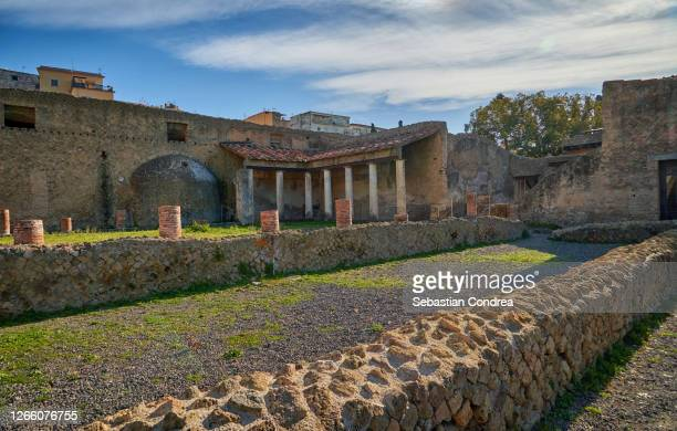 pompeii, mt vesuvius, archaeology, architecture, day, erupting, front view, history, horizontal, italy, market - retail space, no people, outdoors, photography, roman, snow, snowcapped mountain, sport, stone wall, sunset, temple - building, travel, travel - archeologia foto e immagini stock