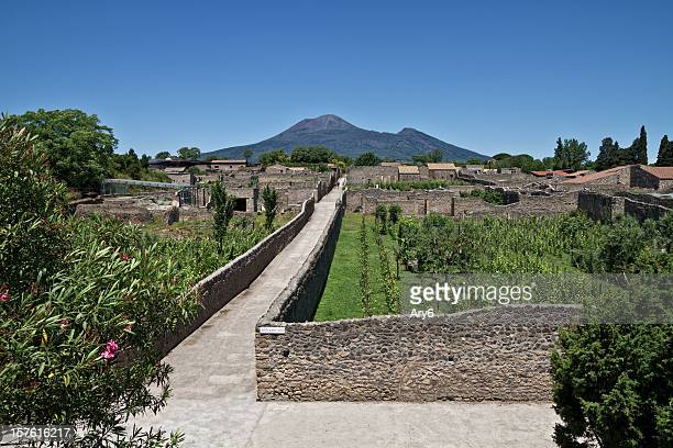 pompeii with  mt vesuvius - pompeii stock photos and pictures