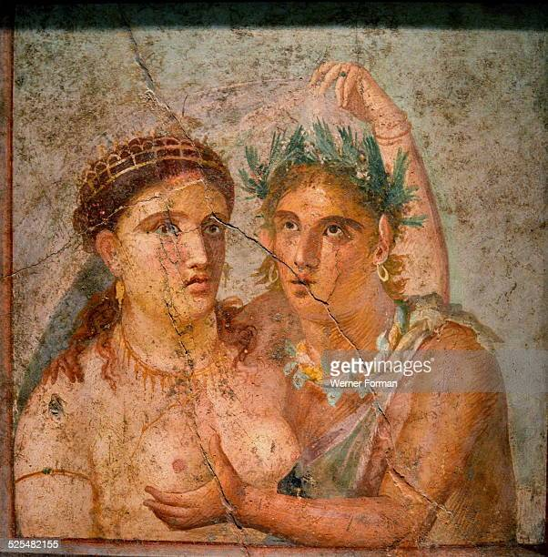 Pompeiian fresco showing a satyr and a maenad embracing From the House of Cecilio Giocondo Italy