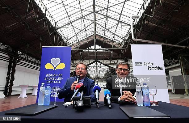 Pompidou Center President Serge Lasvignes and Brussels region President Rudi Vervoordt unveil a project to transform the former Citroen car garage...