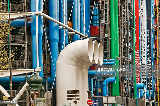 pompidou centre architectural detail, beaubourg area. - centre georges pompidou stock pictures, royalty-free photos & images