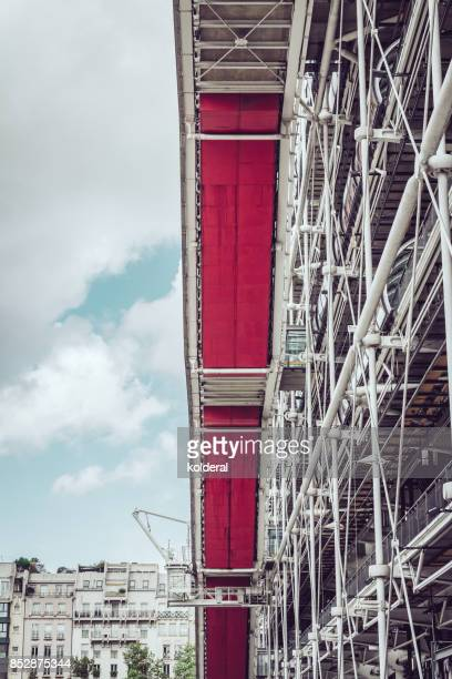 Pompidou Centre building side tube with stairway inside