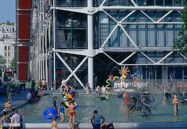 Pompidou Centre, Paris, France, Architect Renzo Piano Building Workshop/Richard Rogers Partnership, Pompidou Centre Exterior With Fountain.