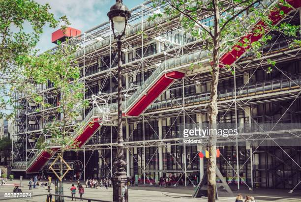 Pompidou Centre square and Pompidou Centre building side tube with stairway inside