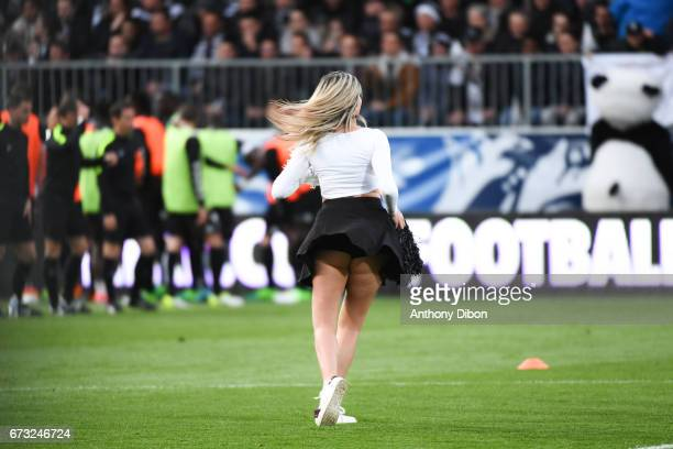 Pompom girl during the Semi final of the French Cup match between Angers and Guingamp at Stade Jean Bouin on April 25 2017 in Angers France