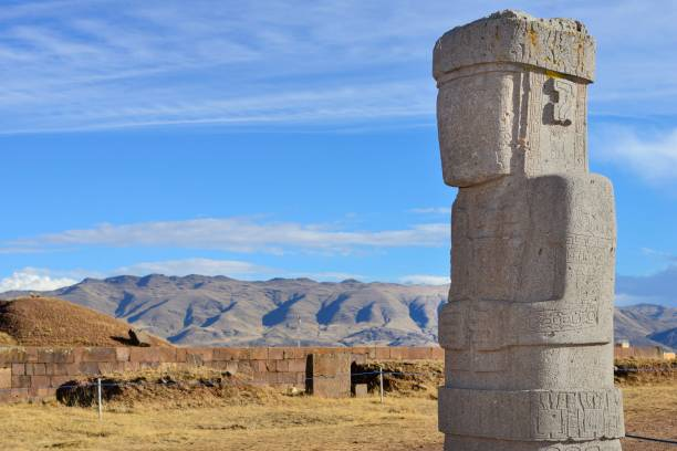 Ponce Monolith, pre-Inca ruins of Tiwanaku, also Tiahuanaco, Unesco World Heritage Site, La Paz Department, Bolivia