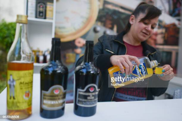 Poncha Rhum and Madeira wine testing during the 2nd edition of Madeira's Rhum Festival sign seen in Funchal city center On Monday April 21 in Funchal...