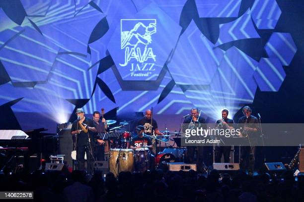 Poncho Sanchez Latin Jazz Band performs on stage during the Java Jazz Festival on March 3 2012 in Jakarta Indonesia