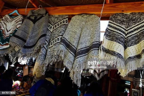 Ponchos of llama wool for sale