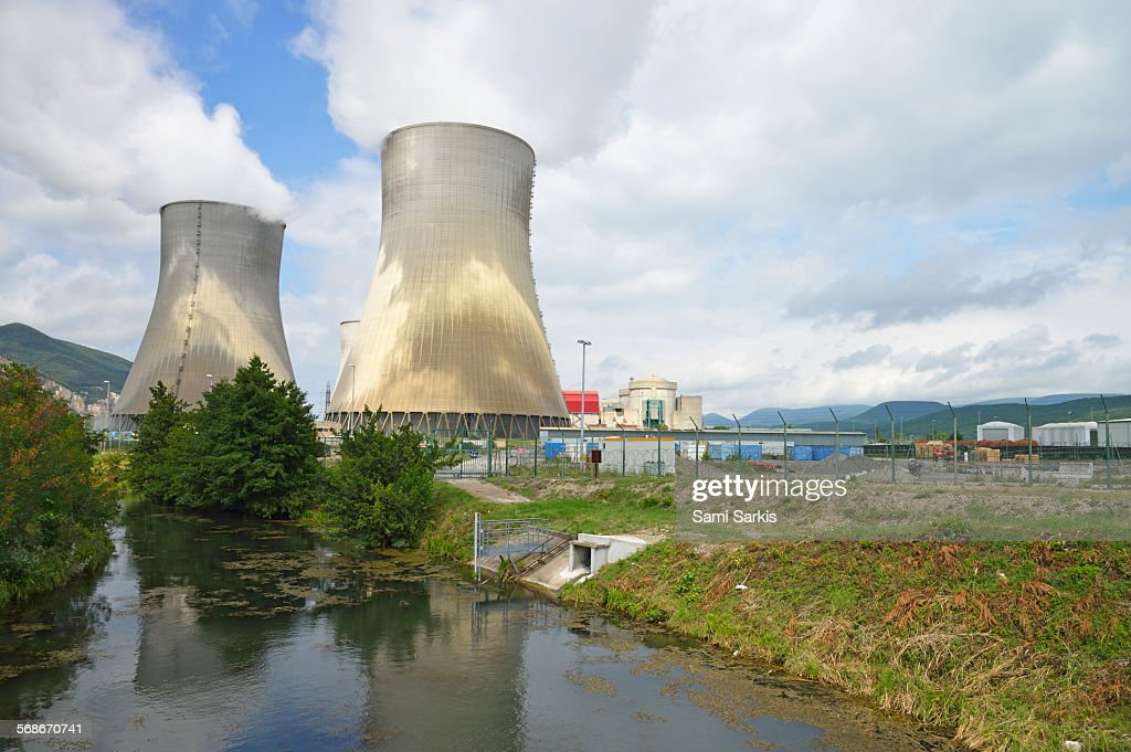 Pond by nuclear power plant of Cruas-Meysse : Stock Photo