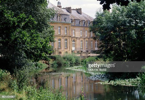 Pond in front of Chateau de Pange Lorraine, France, 18th century.