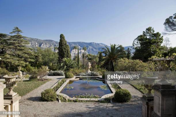 A pond sits in the private botanical gardens overlooking the Mediterranean coast at the Villa Les Cedres a 187yearold000squarefoot 14bedroom mansion...