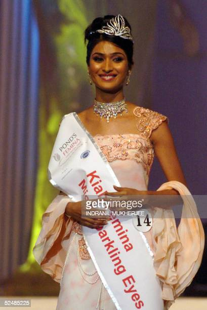 Pond's Femina Miss India 2005, Miss Beautiful Smile Priya Nayar smiles during the finals of in Bombay 27 March 2005.The winners of this year's Pond's...