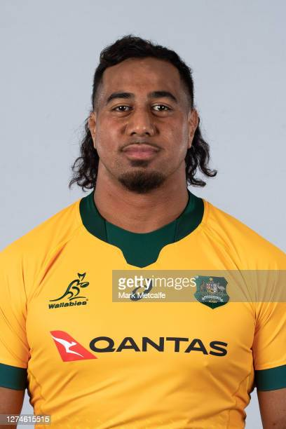Pone Fa'amausili poses during the Australian Wallabies rugby team headshots session at the Crowne Plaza on September 21 2020 in the Hunter Valley...