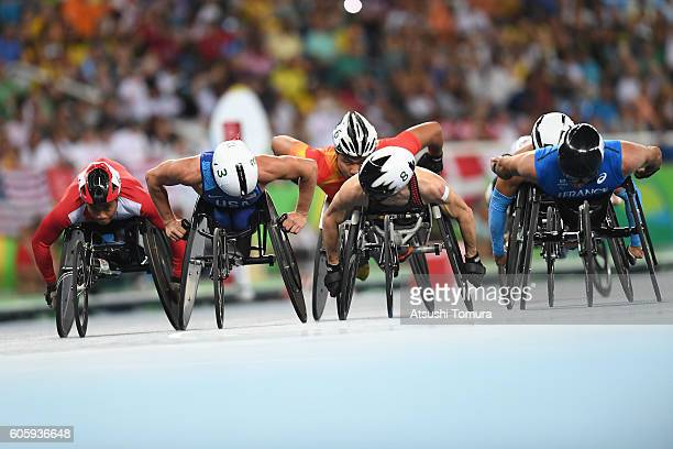 Pongsakorn Paeyo of Thailand Joshua George of the USA Brent Lakatos of Canada and Brian Siemann of the USA compete in the men's 800m T53 final during...