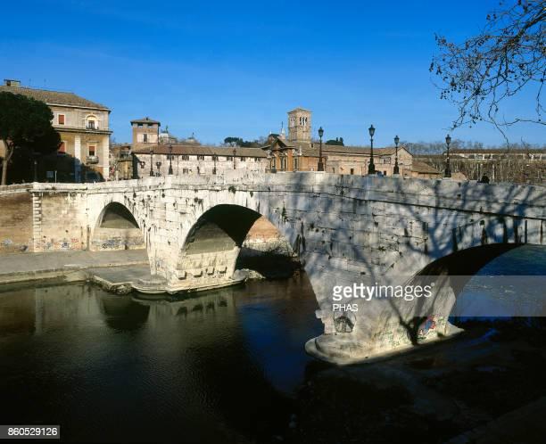 Pons Cestius or Cestius' Bridge over the Tiber river Roman stone bridge in Rome Italy The original version of the bridge was built around the 1st...