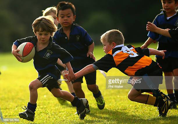 Ponsonby vs Eden under 6 childrens rugby at Cox's Bay Reserve on June 1 2013 in Auckland New Zealand Rugby Union is the unofficial national sport of...