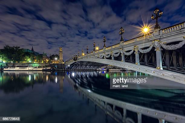 Pont Alexandre III bridge at dusk, Paris, France