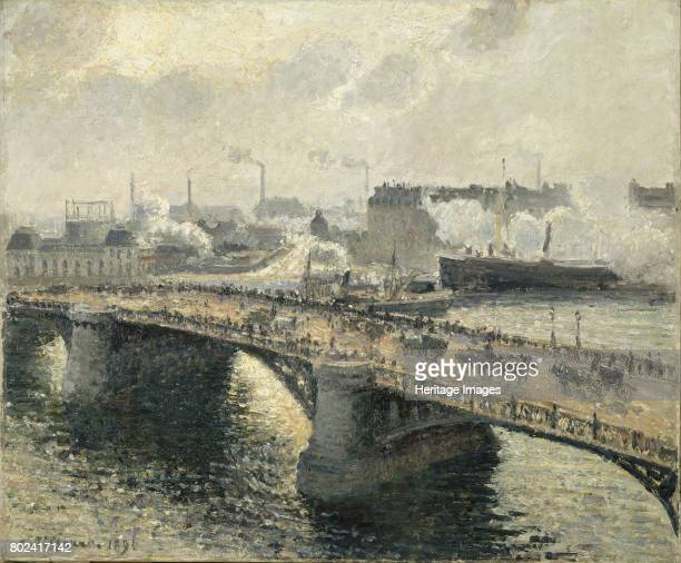 Pont BoÔeldieu in Rouen sunset misty weather 1896 Found in the collection of MusÈe des BeauxArts Rouen