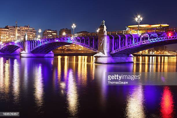 pont de fragnee at night - liege stock pictures, royalty-free photos & images