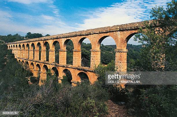 Pont de les Ferreres or Devil's Bridge Roman aqueduct near Tarragona Catalonia Spain Roman civilisation 1st century