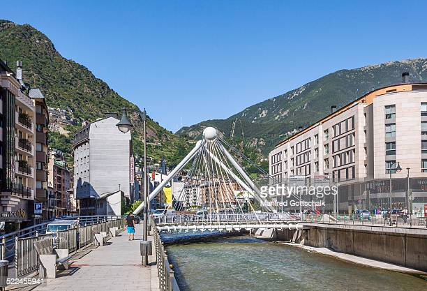 pont de paris bridge andorra la vella - andorra la vella stock pictures, royalty-free photos & images