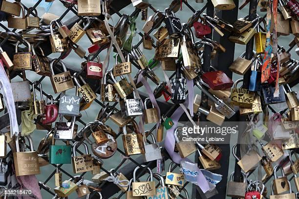 Pont des Arts in Paris. Padlocks of love.